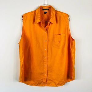 Lauren Ralph Lauren Orange Linen Button Shirt Top